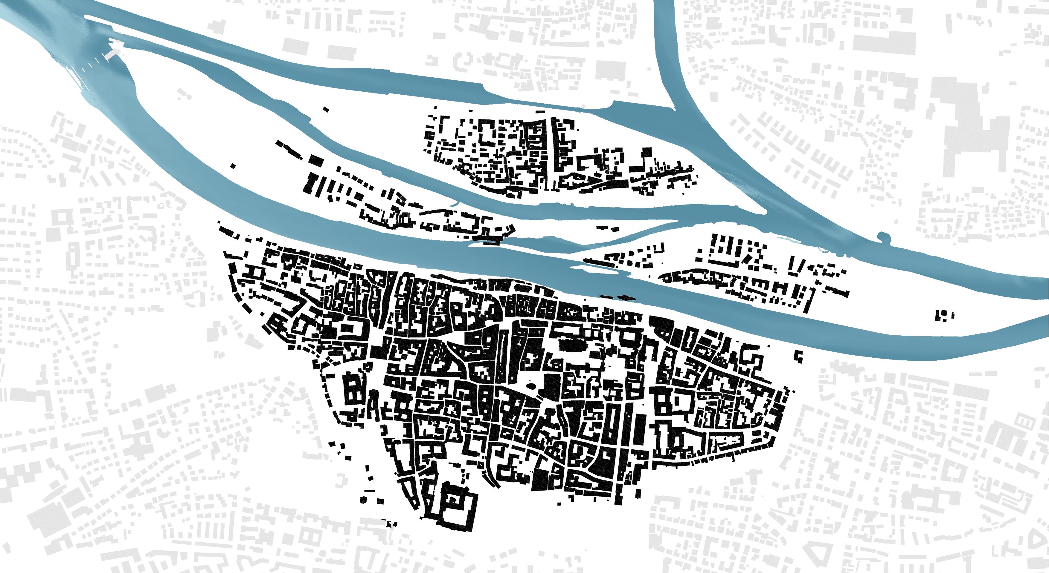 Der Untersuchungsraum Regensburger Altstadt als Schwarzplan